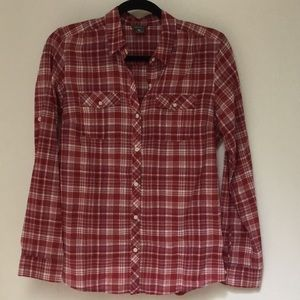 Eddie Bauer red white plaid flannel shirt small